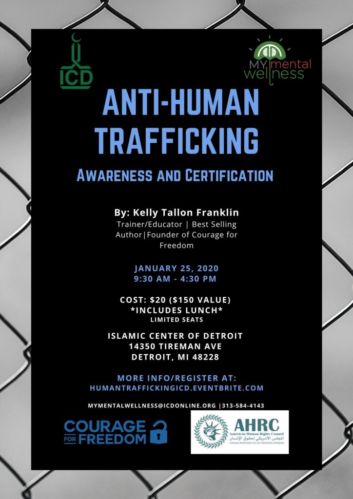 Community Anti-Human Trafficking Training Session, Awareness and Certification- Jan. 25, 2020